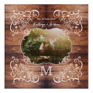 Rustic Woodland Wedding Photo Wood Panel Monogram Acrylic Wall Art