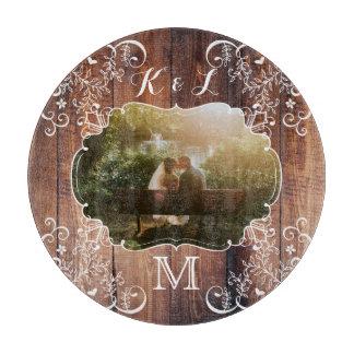 Rustic Woodland Wedding Photo Wood Panel Monogram Cutting Board