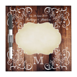 Rustic Woodland Wedding Photo Wood Panel Monogram Dry Erase Board