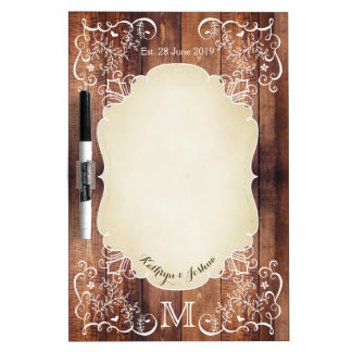Rustic Woodland Wedding Photo Wood Panel Monogram Dry Erase Boards