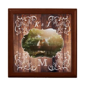 Rustic Woodland Wedding Photo Wood Panel Monogram Gift Box