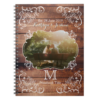 Rustic Woodland Wedding Photo Wood Panel Monogram Spiral Note Book