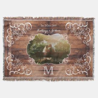Rustic Woodland Wedding Photo Wood Panel Monogram Throw Blanket