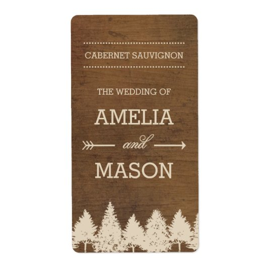 Rustic Woodland Wedding Wine Labels