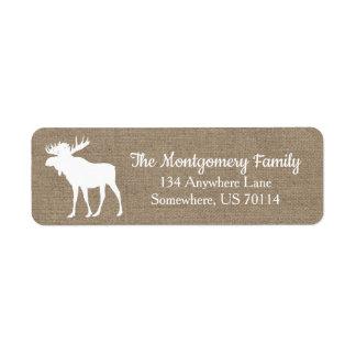 Rustic Woodland White Moose Faux Burlap Return Address Label
