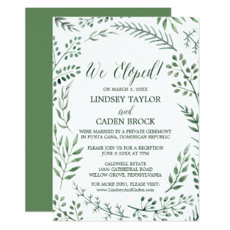 Rustic Wreath and Green Leaves Elopement Reception Card