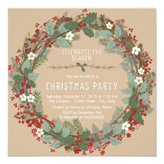 Rustic Wreath Christmas Party Card