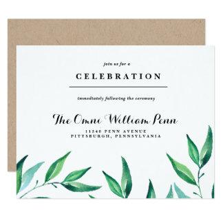 Rustic Wreath Greenery Wedding Reception Card