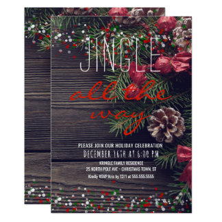 Rustic Wreath Holiday Party Jingle All the Way Card