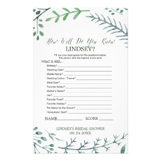 Rustic Wreath How Well Do You Know The Bride Game 14 Cm X 21.5 Cm Flyer