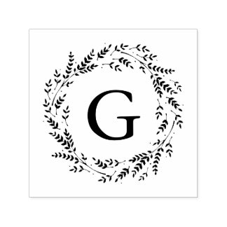 Rustic Wreath Monogram Self-Inking Stamp