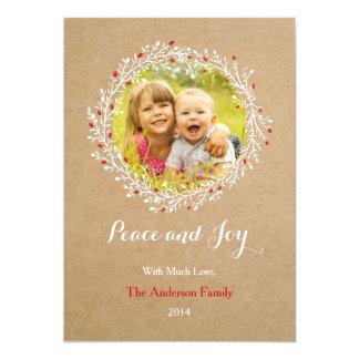 Rustic Wreath Peace and Joy Holiday Card Groupon 13 Cm X 18 Cm Invitation Card