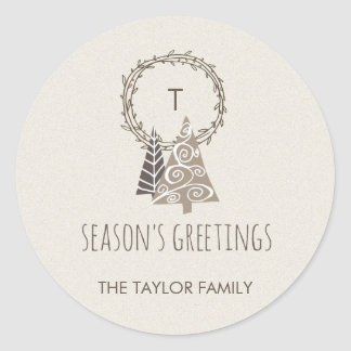 Rustic Wreath Season's Greetings Christmas Classic Round Sticker