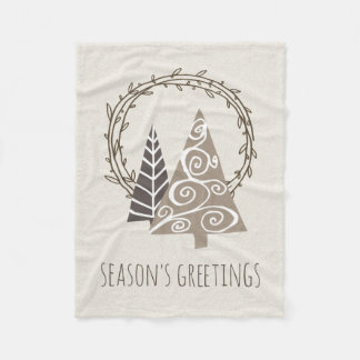 Rustic Wreath Season's Greetings Christmas Fleece Blanket