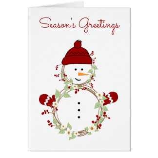 Rustic Wreath Snowman with Red Hat and Mittens Card