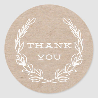 Rustic wreath | Thank you stickers