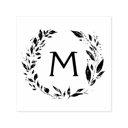 Rustic Wreath Vines Monogram Hand Stamp