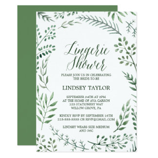 Rustic Wreath with Green Leaves Lingerie Shower Card