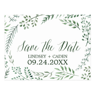 Rustic Wreath with Green Leaves Save the Date Postcard