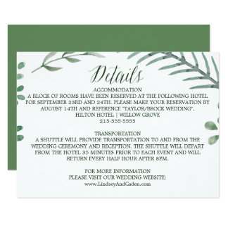 Rustic Wreath with Green Leaves Wedding Details Card