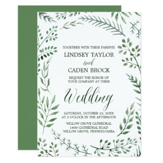 Rustic Wreath with Green Watercolor Leaves Wedding Card