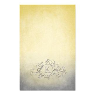 Rustic Yellow and Grey Bohemian  Flourish Personalized Stationery