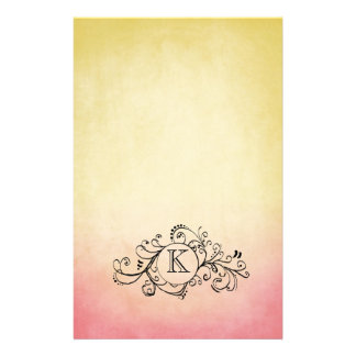 Rustic Yellow and Pink Bohemian  Flourish Personalized Stationery