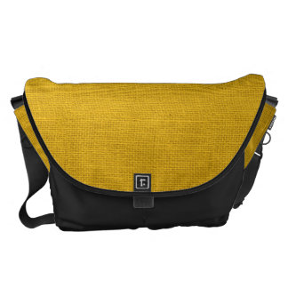 Rustic Yellow Burlap Texture Messenger Bags