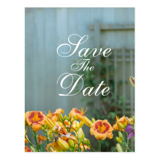 Rustic Yellow Flowers Save The Date Postcard