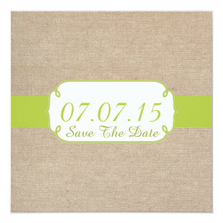 Rustic Yellow Green and Beige Burlap Save The Date Card