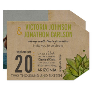 Rustic Yellow Lime Succulent Typography Wedding Card