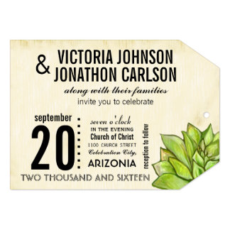 """Rustic Yellow Lime Succulent Typography Wedding 5"""" X 7"""" Invitation Card"""