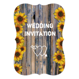 Rustic yellow sunflower country floral wedding card