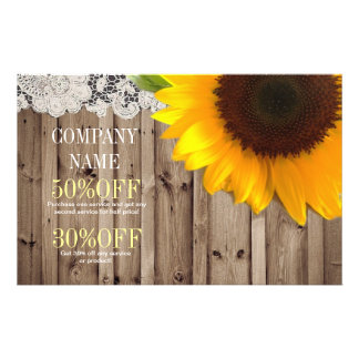 rustic yellow sunflower lace country flower shop 14 cm x 21.5 cm flyer
