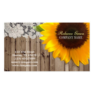 rustic yellow sunflower lace country flower shop pack of standard business cards