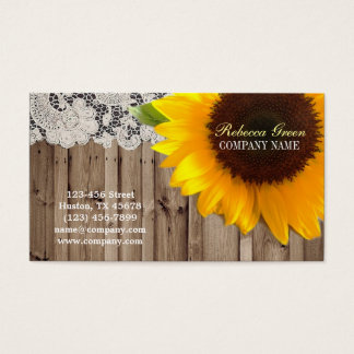 rustic yellow sunflower lace country flower shop business card