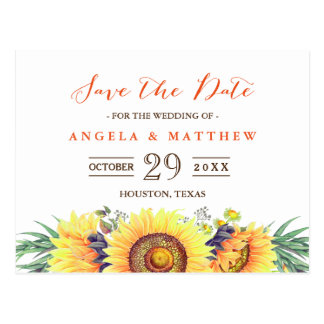 Rustic Yellow Sunflowers Wedding Save the Date Postcard