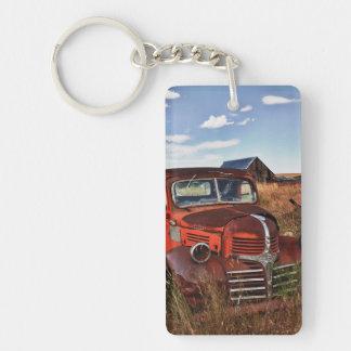 Rusting orange Dodge truck with abandoned farm Double-Sided Rectangular Acrylic Key Ring