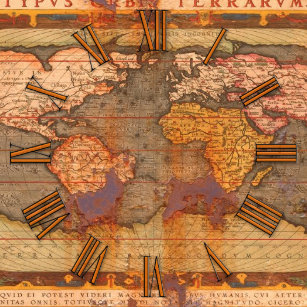 Old world map wall clocks zazzle rusty antique old world map history designer clock gumiabroncs Gallery