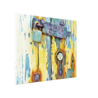 Rusty aqua painted barn door lock gallery canvas