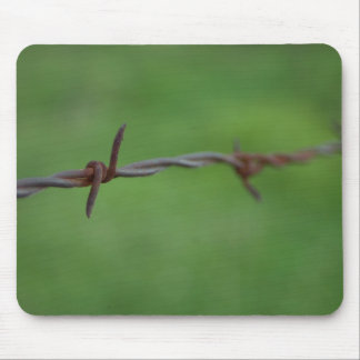 Rusty barb wire fence mousepads