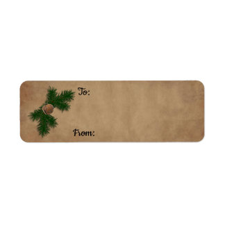 Rusty Bell On Pine Christmas Gift Labels