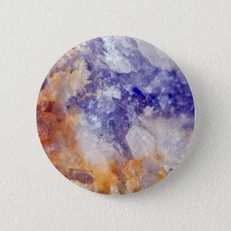 Rusty Blue Quartz Crystal 6 Cm Round Badge