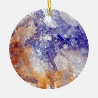 Rusty Blue Quartz Crystal Ceramic Ornament