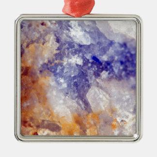 Rusty Blue Quartz Crystal Silver-Colored Square Decoration