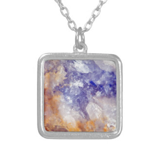 Rusty Blue Quartz Crystal Silver Plated Necklace