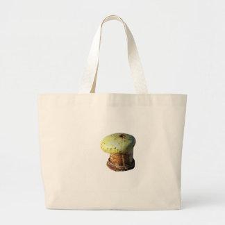 Rusty bollard isolated on white background jumbo tote bag