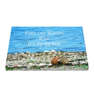 Rusty Can By Blue Water Message Wrapped Canvas Stretched Canvas Print