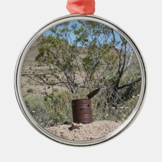 Rusty Can with bullet holes Metal Ornament
