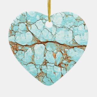 Rusty Cracked Turquoise Ceramic Ornament